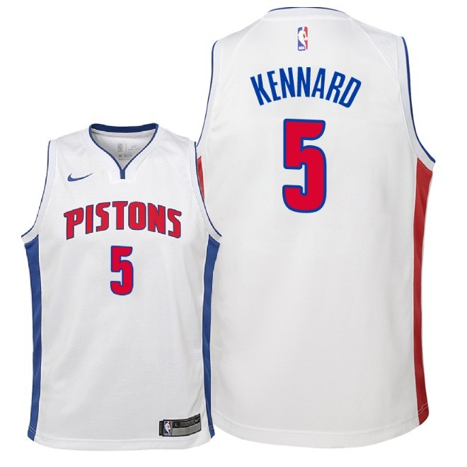 Camisetas NBA Niño Detroit Pistons NO.5 Luke Kennard Blanco Association 2018 Barats