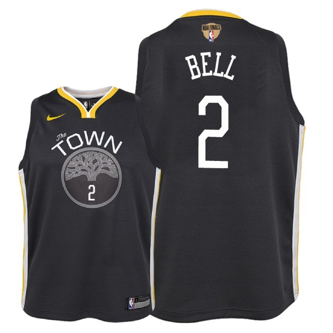 Camisetas NBA Niño Golden State Warriors 2018 Finales Champions NO.2 Jordan Bell Negro Statement Parche Barats