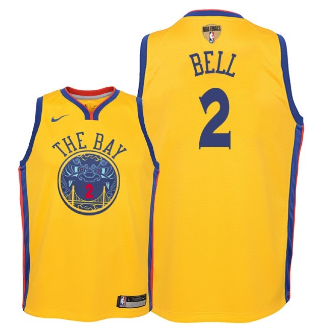 Camisetas NBA Niño Golden State Warriors 2018 Finales Champions NO.2 Jordan Bell Nike Amarillo City Parche Barats