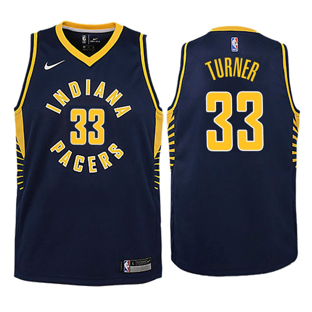 Camisetas NBA Niño Indiana Pacers NO.33 Myles Turner Marino Icon 2018 Barats