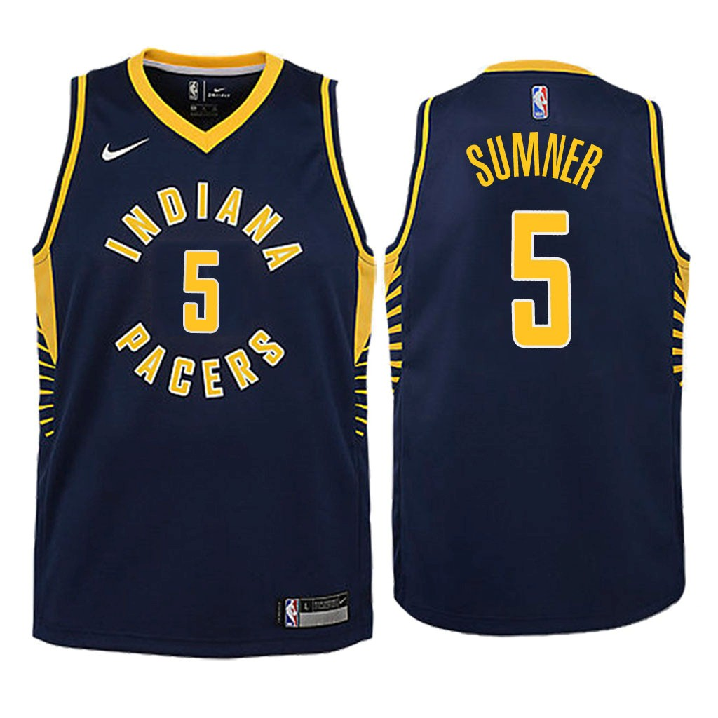 Camisetas NBA Niño Indiana Pacers NO.5 Edmond Sumner Marino Icon 2018 Barats