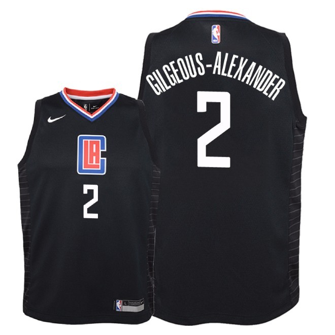 Camisetas NBA Niño Los Angeles Clippers NO.2 Shai Gilgeous Alexander Negro Statement 2018 Barats