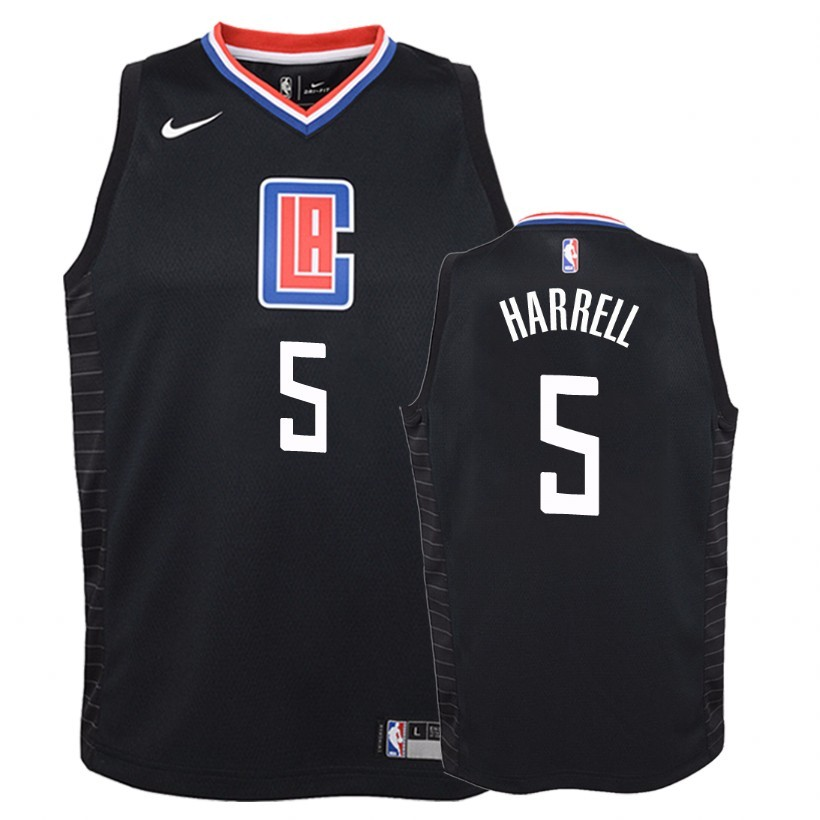 Camisetas NBA Niño Los Angeles Clippers NO.5 Montrezl Harrell Negro Statement 2018 Barats