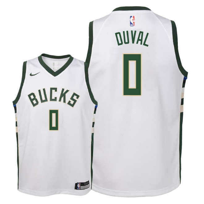 Camisetas NBA Niño Milwaukee Bucks NO.0 Trevon Duval Blanco Association 2018-19 Barats