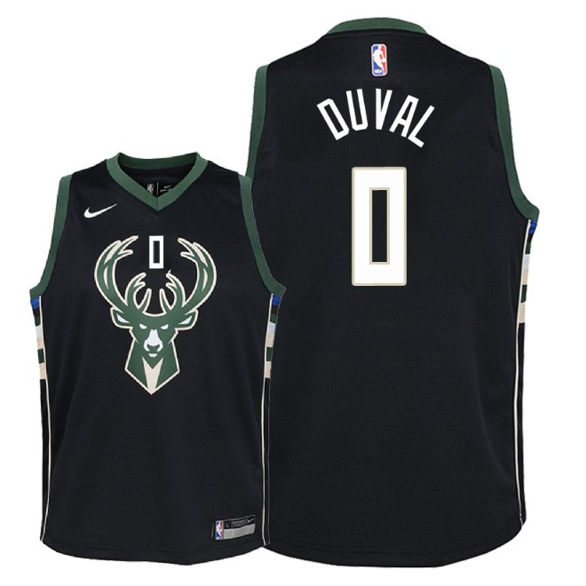 Camisetas NBA Niño Milwaukee Bucks NO.0 Trevon Duval Negro Statement 2018-19 Barats