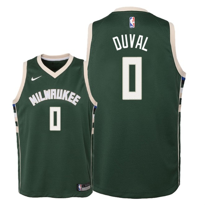 Camisetas NBA Niño Milwaukee Bucks NO.0 Trevon Duval Verde Icon 2018-19 Barats