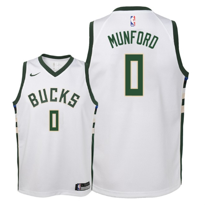 Camisetas NBA Niño Milwaukee Bucks NO.0 Xavier Munford Blanco Association 2018 Barats