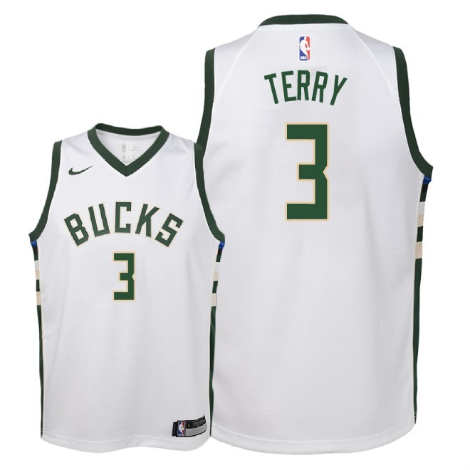 Camisetas NBA Niño Milwaukee Bucks NO.3 Jason Terry Blanco Association 2018 Barats