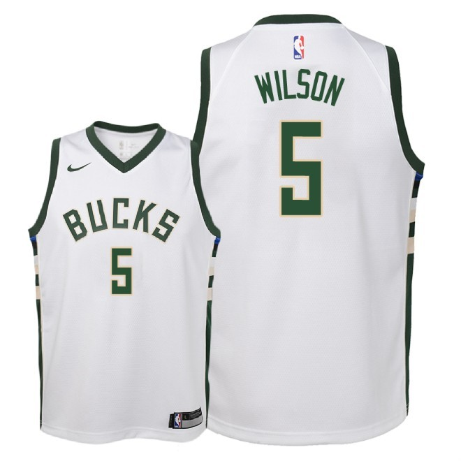Camisetas NBA Niño Milwaukee Bucks NO.5 D.J. Wilson Blanco Association 2018 Barats