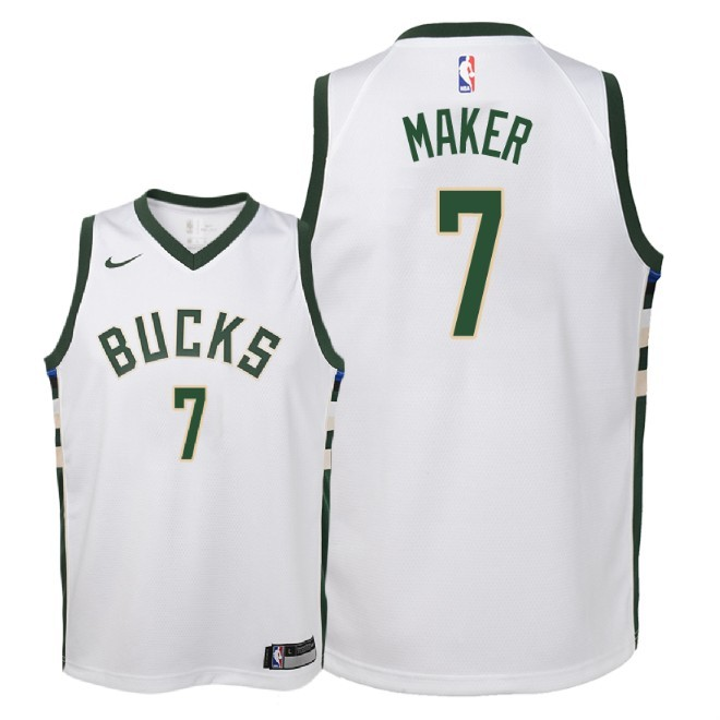 Camisetas NBA Niño Milwaukee Bucks NO.7 Thon Maker Blanco Association 2018 Barats