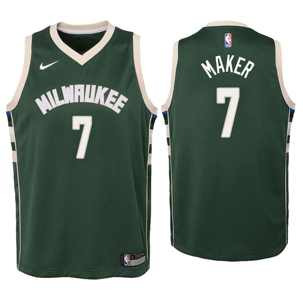 Camisetas NBA Niño Milwaukee Bucks NO.7 Thon Maker Verde Icon 2018 Barats