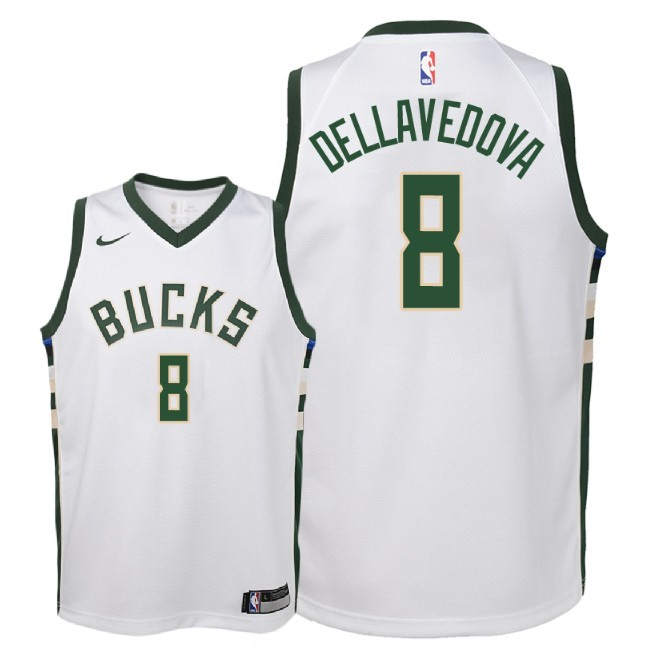 Camisetas NBA Niño Milwaukee Bucks NO.8 Matthew Dellavedova Blanco Association 2018 Barats