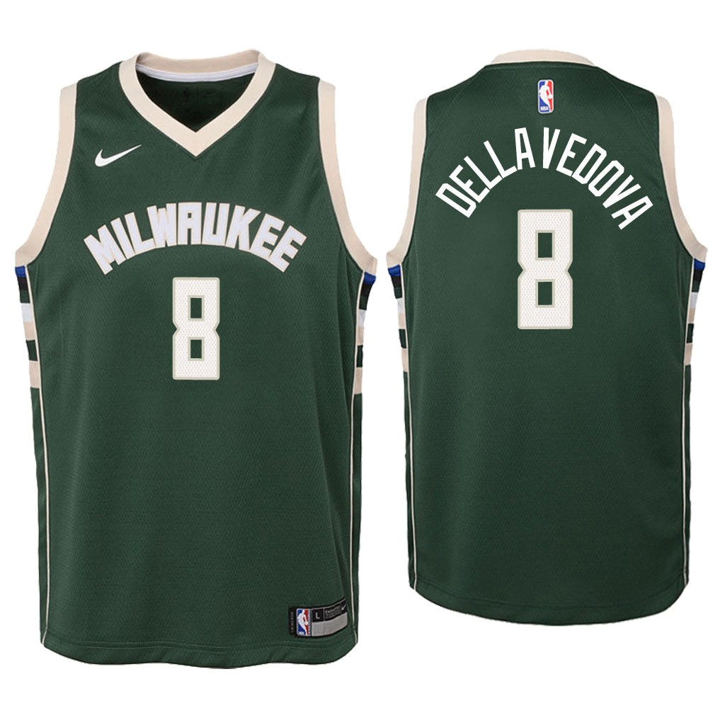 Camisetas NBA Niño Milwaukee Bucks NO.8 Matthew Dellavedova Verde Icon 2018 Barats