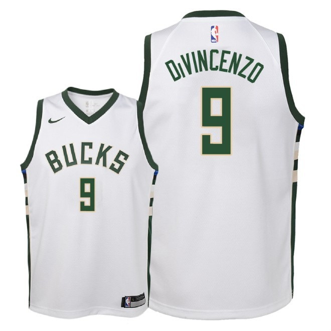 Camisetas NBA Niño Milwaukee Bucks NO.9 Donte DiVincenzo Blanco Association 2018 Barats