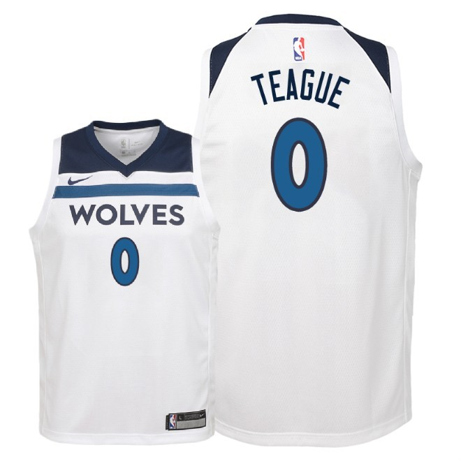 Camisetas NBA Niño Minnesota Timberwolves NO.0 Jeff Teague Blanco Association 2018 Barats