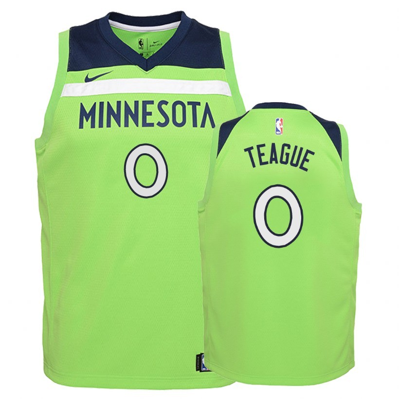 Camisetas NBA Niño Minnesota Timberwolves NO.0 Jeff Teague Verde Statement 2018 Barats