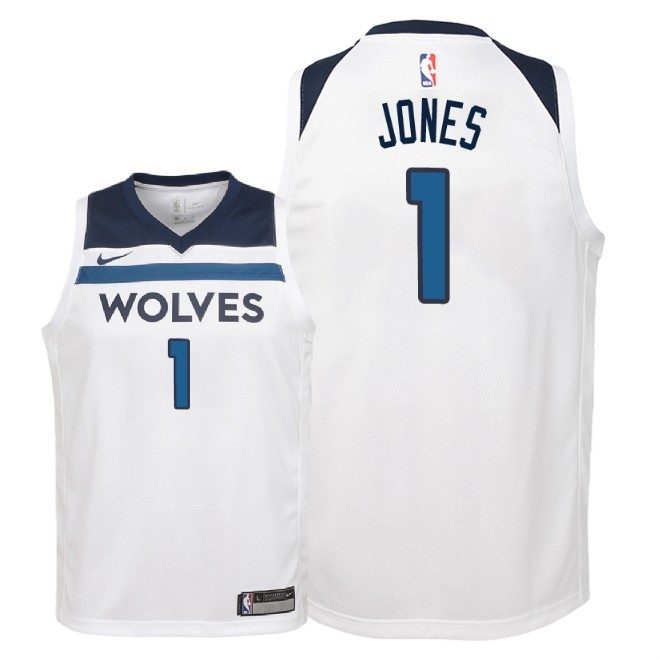 Camisetas NBA Niño Minnesota Timberwolves NO.1 Tyus Jones Blanco Association 2018 Barats