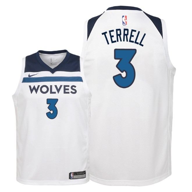 Camisetas NBA Niño Minnesota Timberwolves NO.3 Jared Terrell Blanco Association 2018 Barats