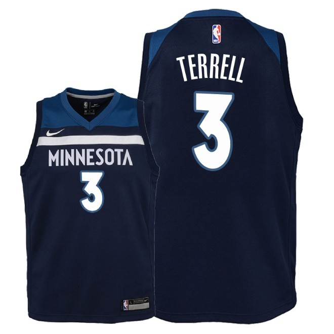 Camisetas NBA Niño Minnesota Timberwolves NO.3 Jared Terrell Marino Icon 2018 Barats
