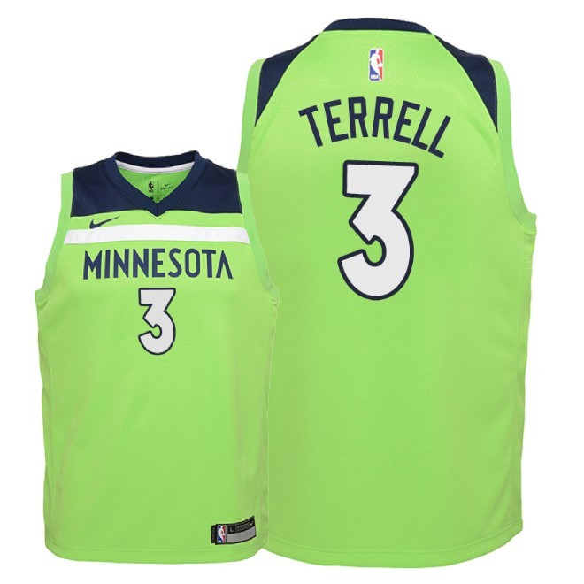 Camisetas NBA Niño Minnesota Timberwolves NO.3 Jared Terrell Verde Statement 2018 Barats