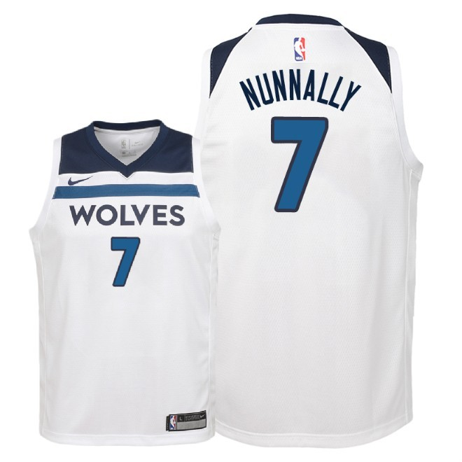Camisetas NBA Niño Minnesota Timberwolves NO.7 James Nunnally Blanco Association 2018 Barats