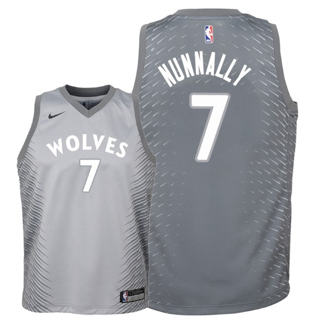 Camisetas NBA Niño Minnesota Timberwolves NO.7 James Nunnally Nike Gris Ciudad 2018 Barats
