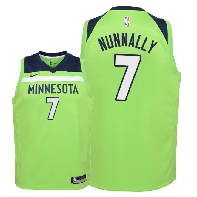 Camisetas NBA Niño Minnesota Timberwolves NO.7 James Nunnally Verde Statement 2018 Barats