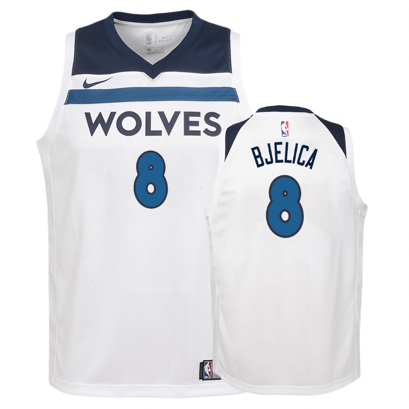 Camisetas NBA Niño Minnesota Timberwolves NO.8 Nemanja Bjelica Blanco Association 2018 Barats