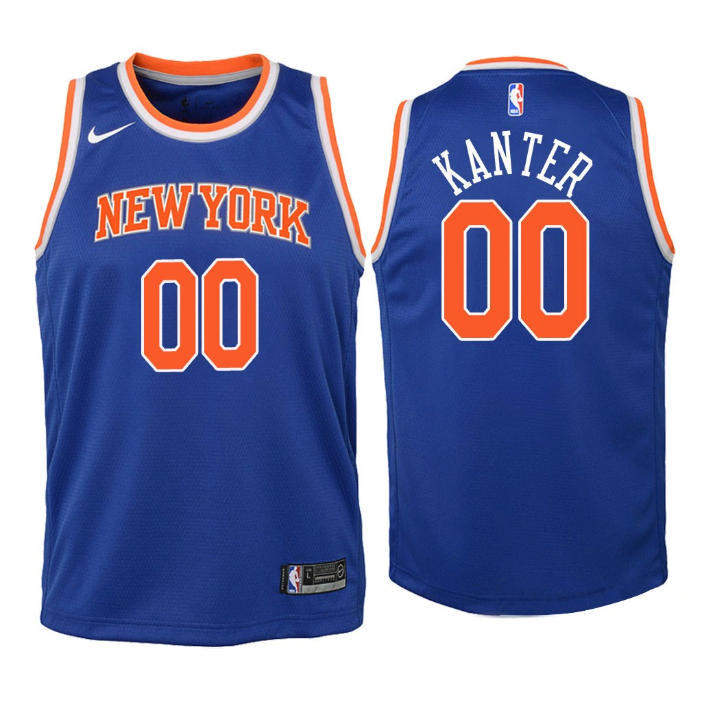 Camisetas NBA Niño New York Knicks NO.0 Enes Kanter Azul Icon 2018 Barats