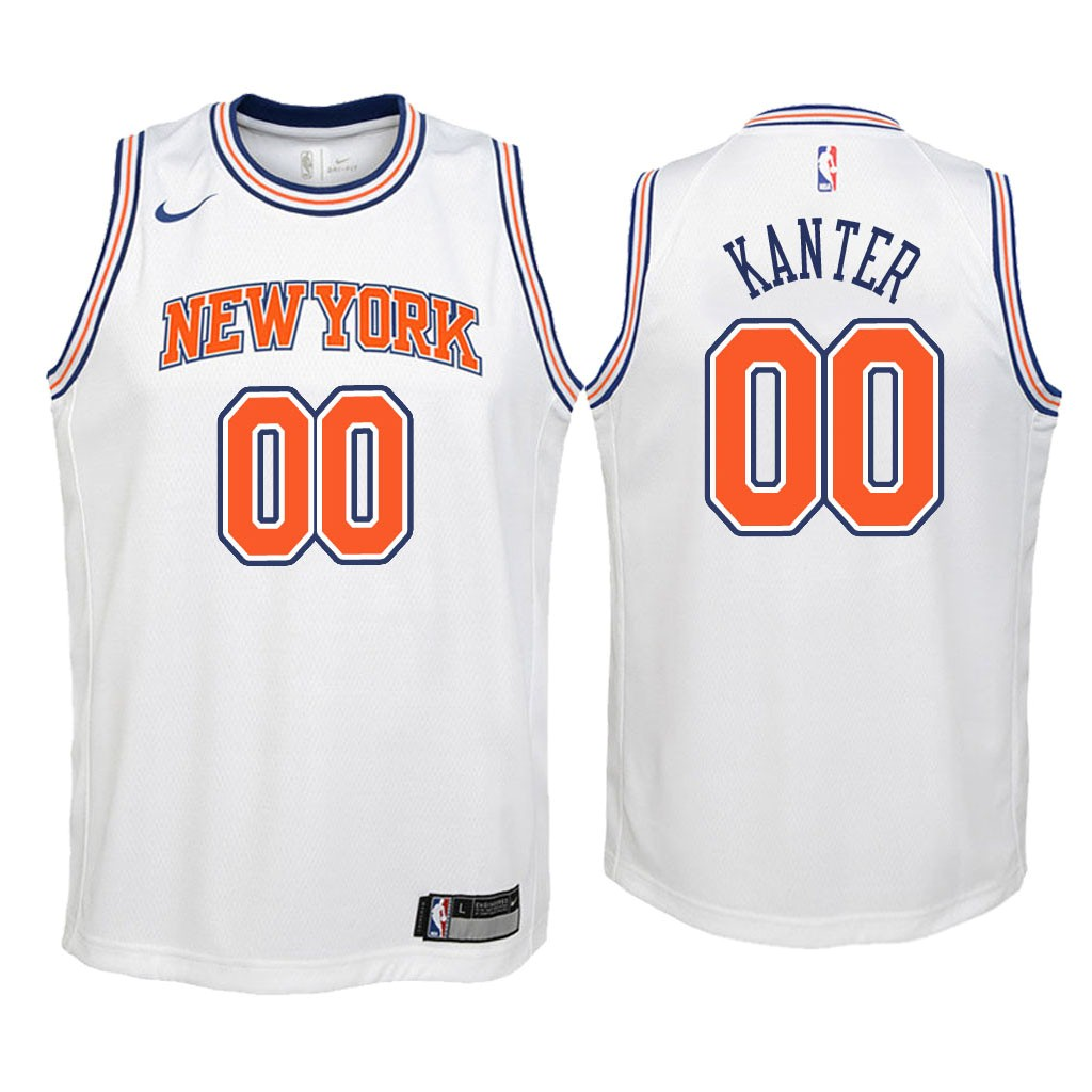 Camisetas NBA Niño New York Knicks NO.0 Enes Kanter Blanco Statement 2018 Barats