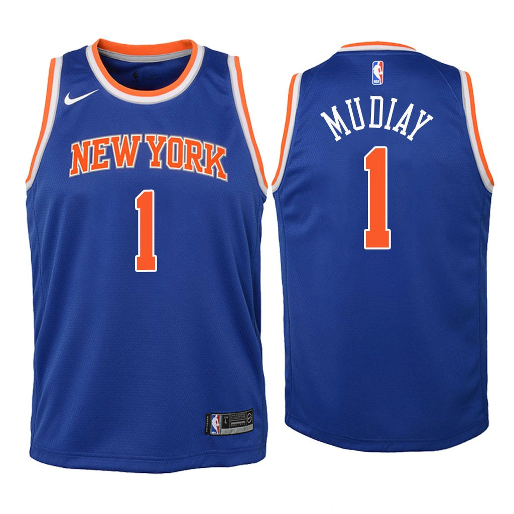 Camisetas NBA Niño New York Knicks NO.1 Emmanuel Mudiay Azul Icon 2018 Barats