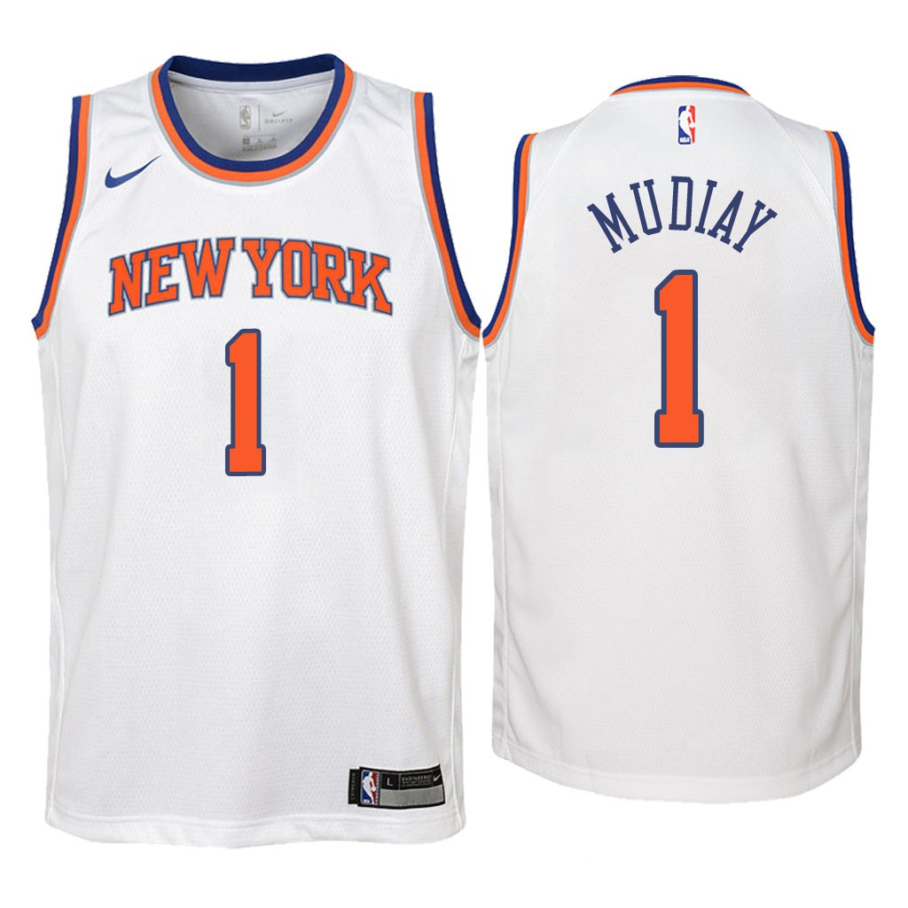 Camisetas NBA Niño New York Knicks NO.1 Emmanuel Mudiay Blanco Association 2018 Barats