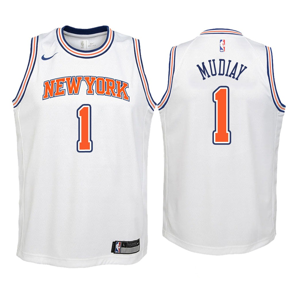 Camisetas NBA Niño New York Knicks NO.1 Emmanuel Mudiay Blanco Statement 2018 Barats