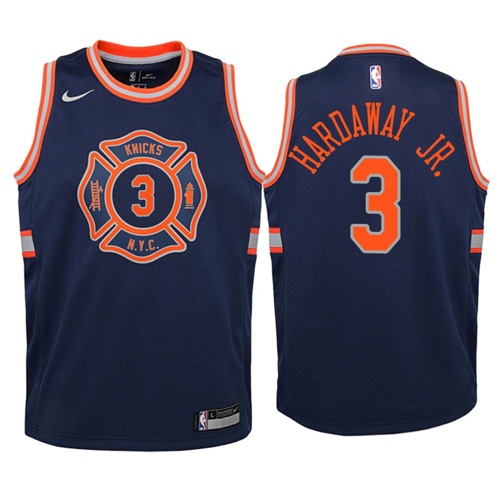 Camisetas NBA Niño New York Knicks NO.3 Tim Hardaway Jr Nike Marino Ciudad 2018 Barats