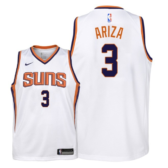 Camisetas NBA Niño Phoenix Suns NO.3 Trevor Ariza Blanco Association 2018 Barats