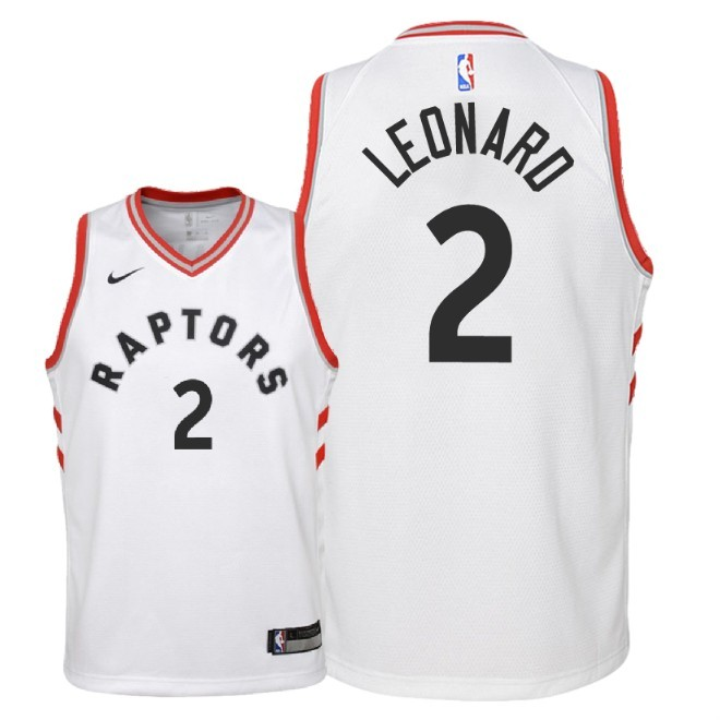 Camisetas NBA Niño Toronto Raptors NO.2 Kawhi Leonard Blanco Association 2018 Barats