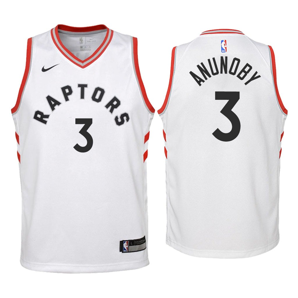 Camisetas NBA Niño Toronto Raptors NO.3 OG Anunoby Blanco Association 2018 Barats