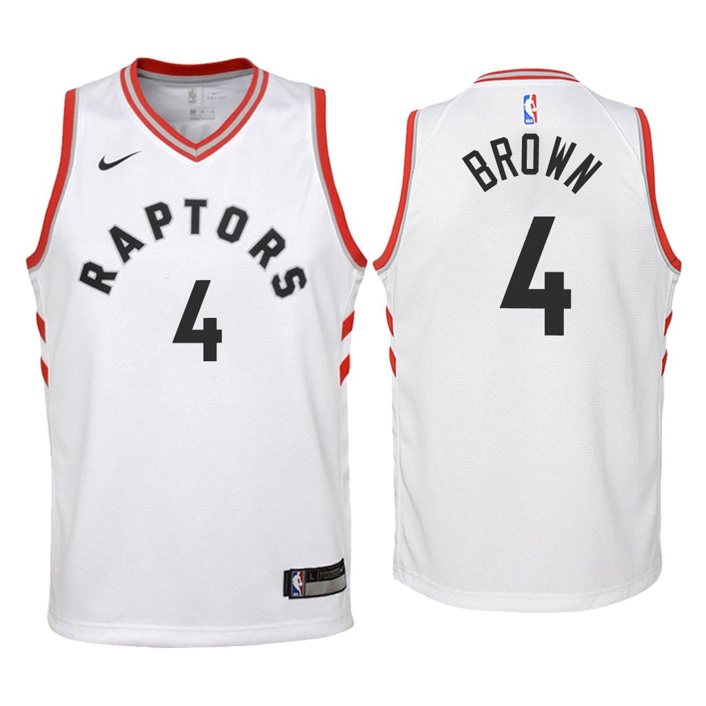 Camisetas NBA Niño Toronto Raptors NO.4 Lorenzo Brown Blanco Association 2018 Barats