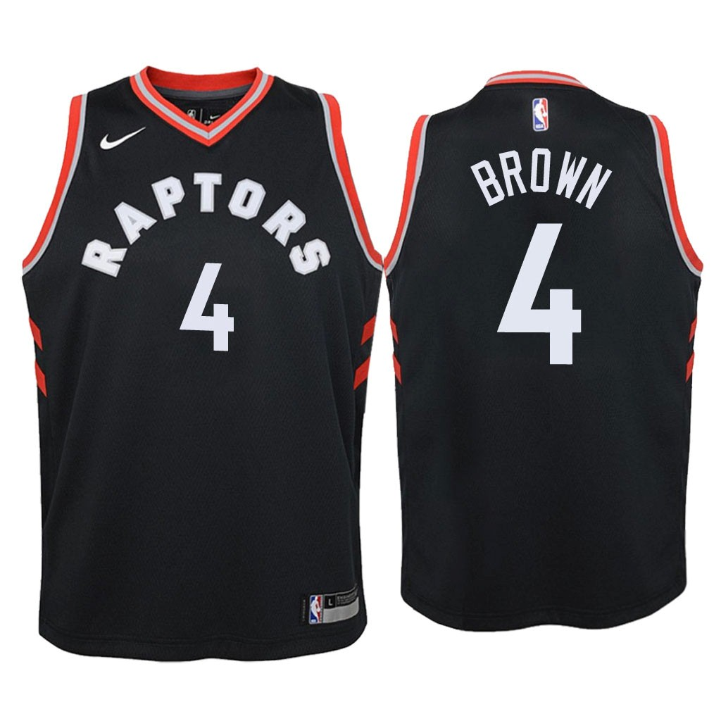 Camisetas NBA Niño Toronto Raptors NO.4 Lorenzo Brown Negro Statement 2018 Barats