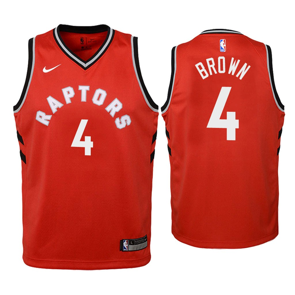 Camisetas NBA Niño Toronto Raptors NO.4 Lorenzo Brown Rojo Icon 2018 Barats