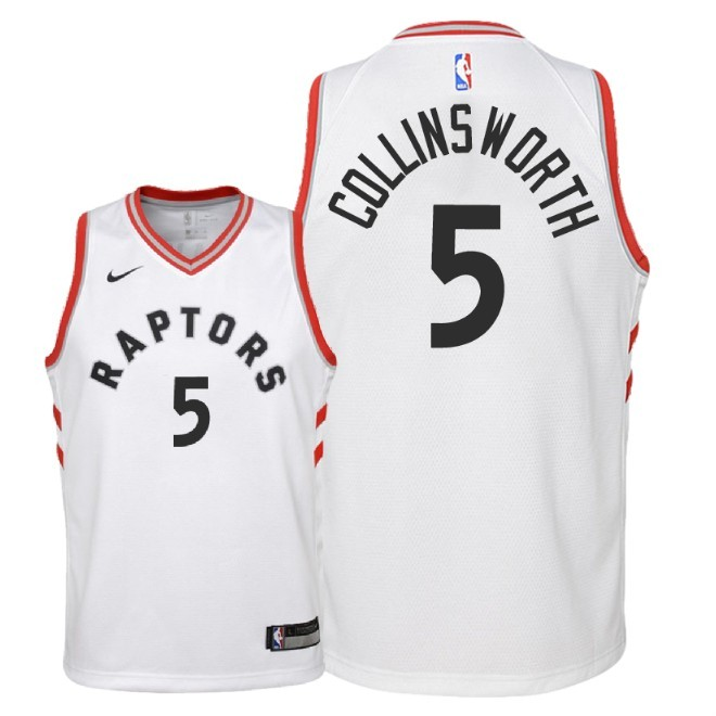 Camisetas NBA Niño Toronto Raptors NO.5 Kyle Collinsworth Blanco Association 2018 Barats