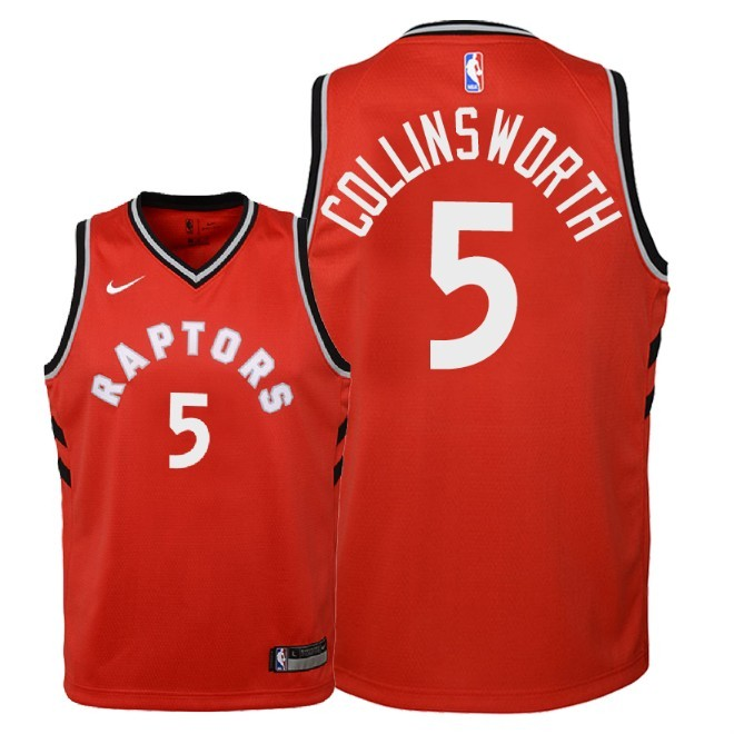 Camisetas NBA Niño Toronto Raptors NO.5 Kyle Collinsworth Rojo Icon 2018 Barats