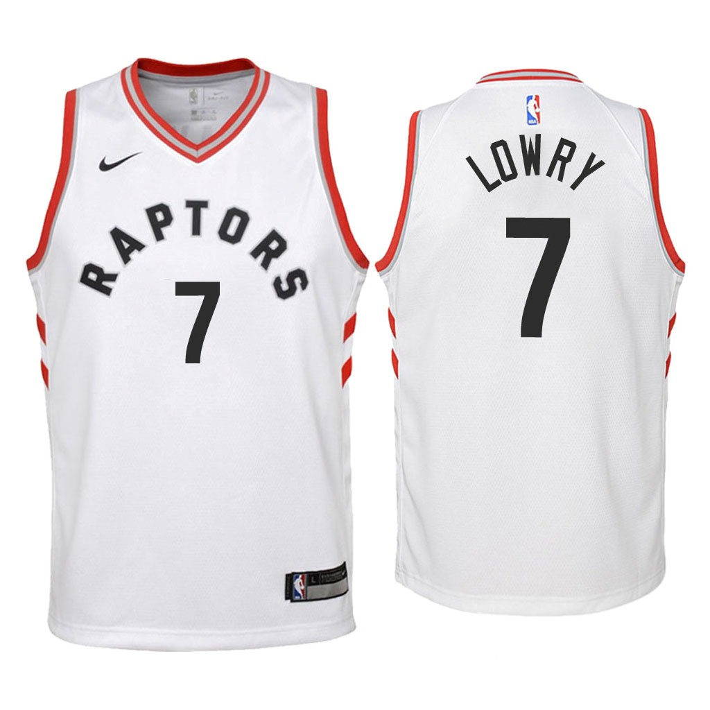 Camisetas NBA Niño Toronto Raptors NO.7 Kyle Lowry Blanco Association 2018 Barats