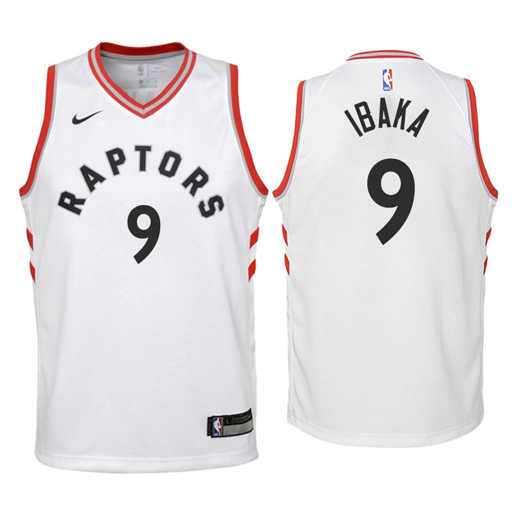 Camisetas NBA Niño Toronto Raptors NO.9 Serge Ibaka Blanco Association 2018 Barats