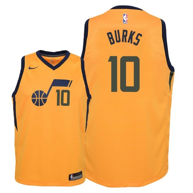 Camisetas NBA Niño Utah Jazz NO.10 Alec Burks Amarillo Statement 2018 Barats