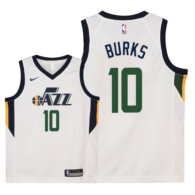 Camisetas NBA Niño Utah Jazz NO.10 Alec Burks Blanco Association 2018 Barats