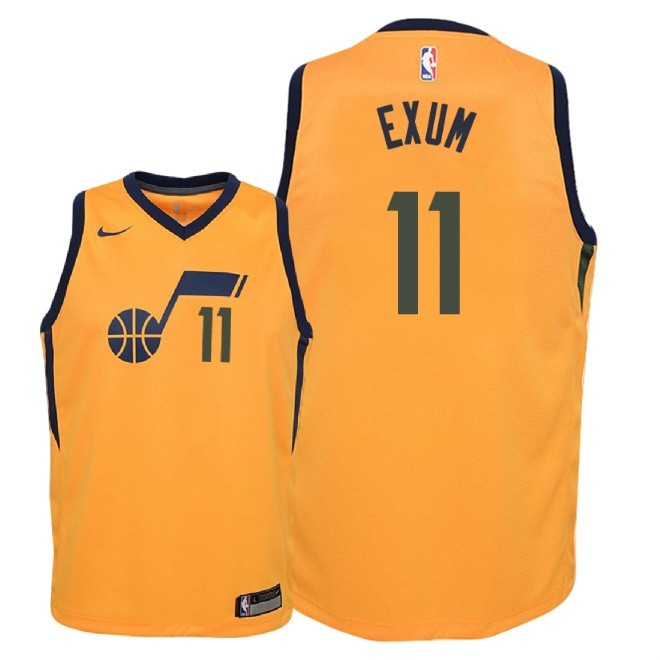 Camisetas NBA Niño Utah Jazz NO.11 Dante Exum Amarillo Statement 2018 Barats