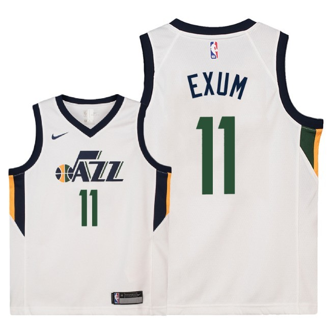 Camisetas NBA Niño Utah Jazz NO.11 Dante Exum Blanco Association 2018 Barats
