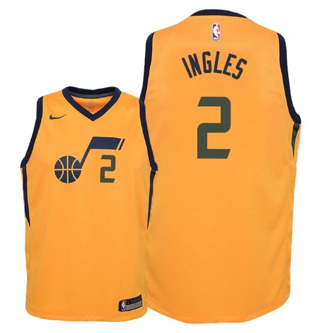 Camisetas NBA Niño Utah Jazz NO.2 Joe Ingles Amarillo Statement 2018 Barats
