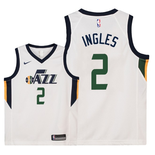 Camisetas NBA Niño Utah Jazz NO.2 Joe Ingles Blanco Association 2018 Barats